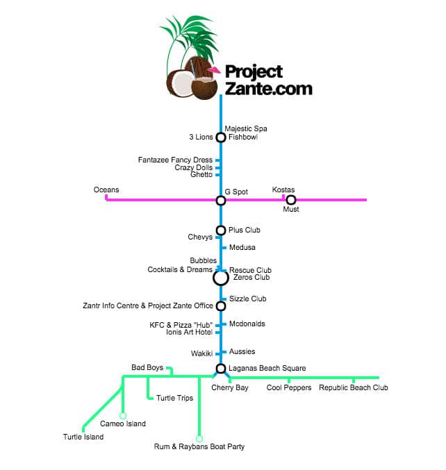 zante clubs map