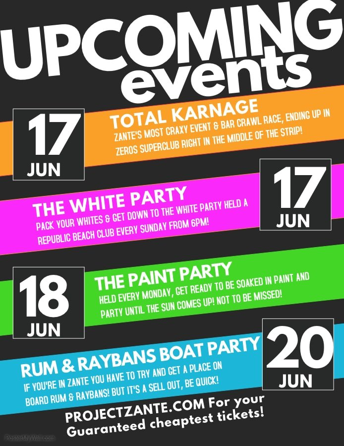 June Zante Events 2018